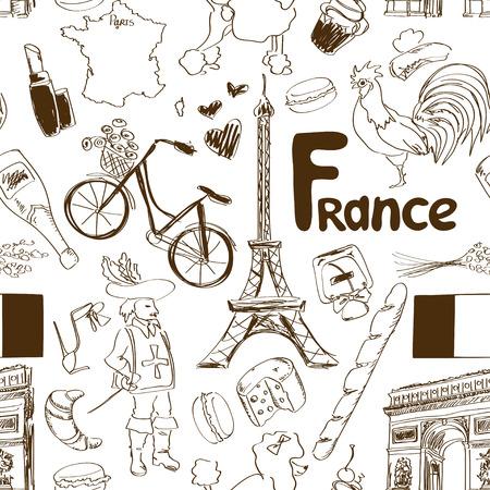 mosquetero: Diversión boceto Francia patrón transparente Vectores