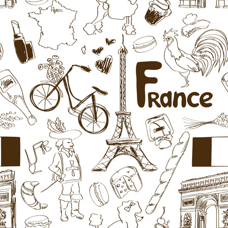 Fun sketch France seamless pattern Vector