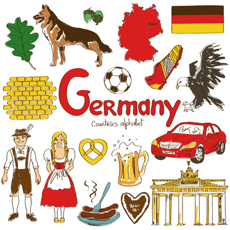 costume ball: Fun colorful sketch collection of Germany icons, countries alphabet