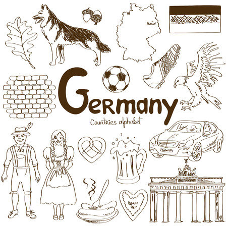 Fun sketch collection of Germany icons, countries alphabet