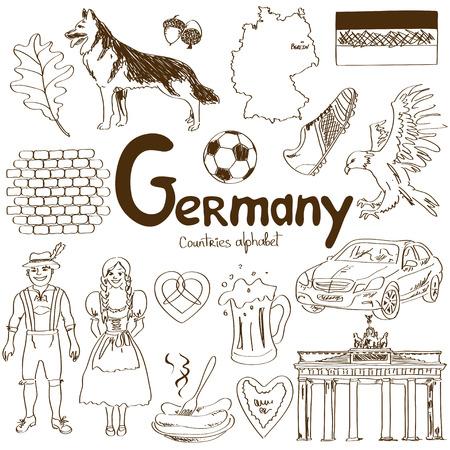 Leuke schets collectie van Duitsland iconen, landen alfabet Stock Illustratie