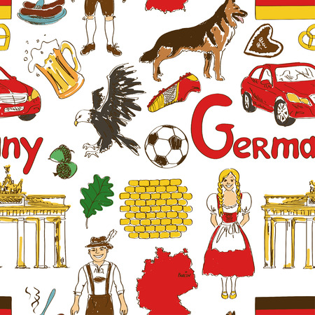 Fun colorful sketch Germany seamless pattern Vector