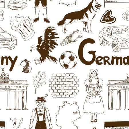 dog costume: Fun sketch Germany seamless pattern Illustration
