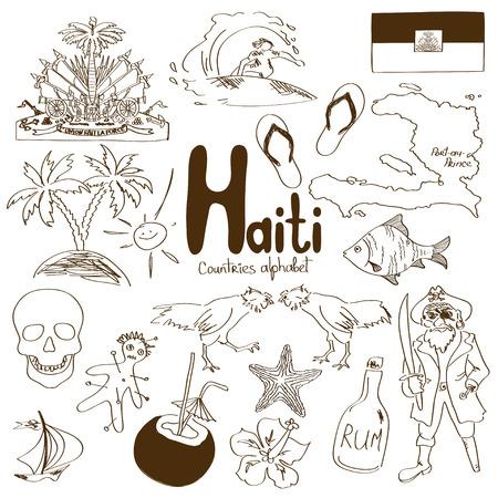 haiti: Fun sketch collection of Haiti icons, countries alphabet