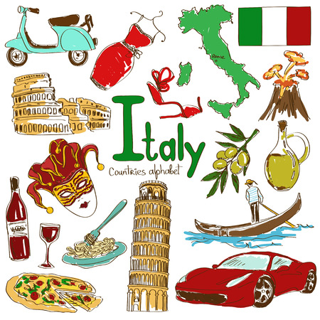 Fun colorful sketch collection of Italy icons, countries alphabet Ilustração
