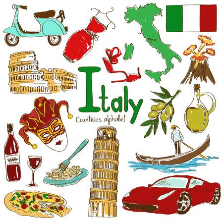 Zabawa kolorowy szkic zbiór Włoszech ikon, kraje alfabet