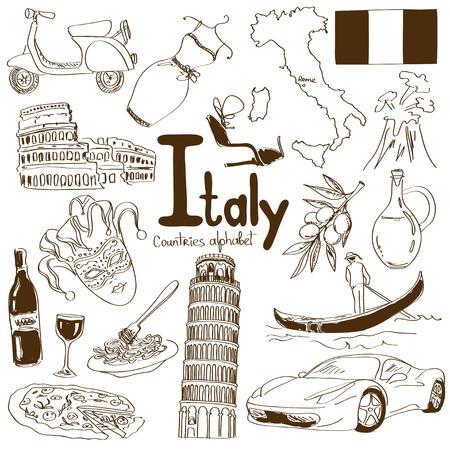 Fun collection croquis de Italie icônes, alphabet pays Banque d'images - 29857829