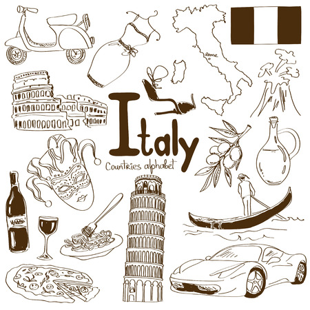 Fun sketch collection of Italy icons, countries alphabet Иллюстрация