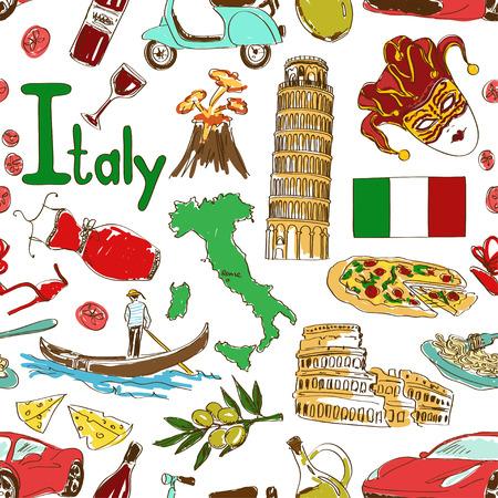 楽しいカラフルなスケッチ イタリア シームレスなパターン  イラスト・ベクター素材