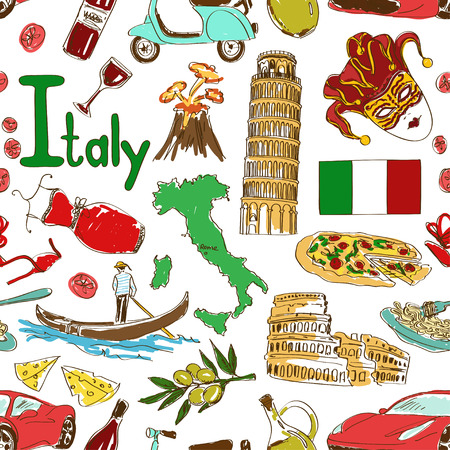 Fun colorful sketch Italy seamless pattern