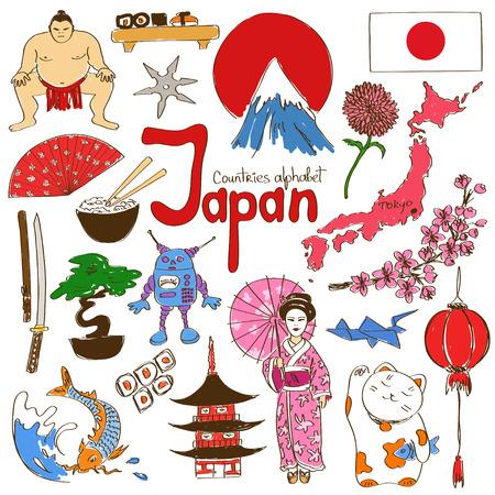 bandera japon: Divertida colección bosquejo colorido de Japón iconos, los países del alfabeto