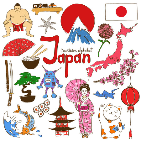 Fun colorful sketch collection of Japan icons, countries alphabet Ilustração