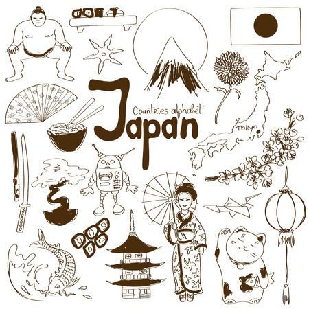 日本のアイコンは、国のアルファベットの楽しいスケッチ集  イラスト・ベクター素材