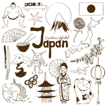 Fun sketch collection of Japan icons, countries alphabet Ilustração