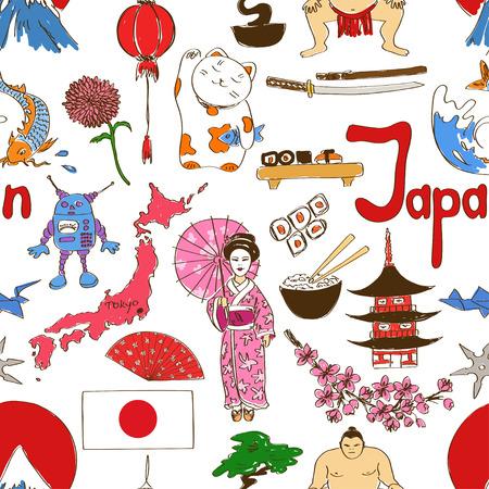 maneki neko: Fun colorful sketch Japan seamless pattern Illustration