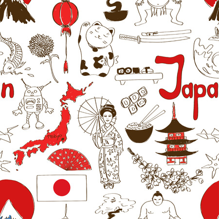 Fun colorful sketch Japan seamless pattern Vector