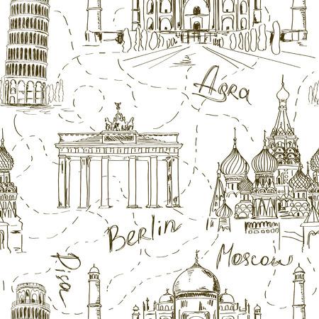 Schets naadloze patroon met toren van Pisa, Taj Mahal, de kathedraal van St. Basil's en de Brandenburger Tor