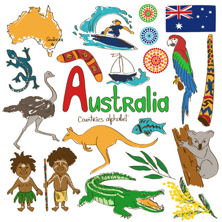 emu: Colorful sketch collection of Australia icons, countries alphabet Illustration