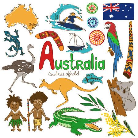 emu: Colorida colección boceto de Iconos de Australia, los países alfabeto Vectores