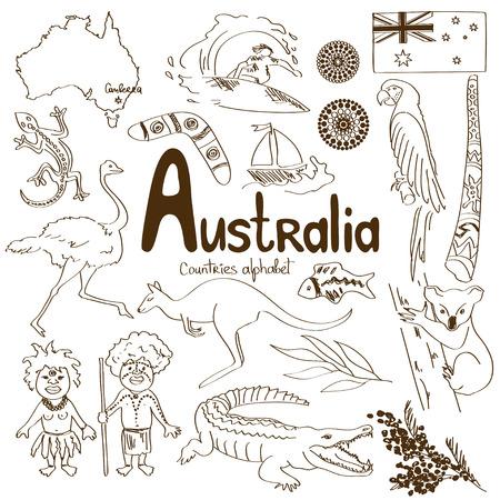 Colección del bosquejo de Iconos de Australia, los países del alfabeto Foto de archivo - 30016538
