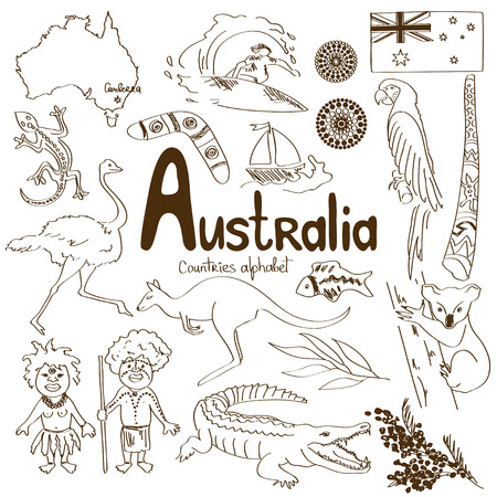 Sketch collection of Australia icons, countries alphabet Illustration
