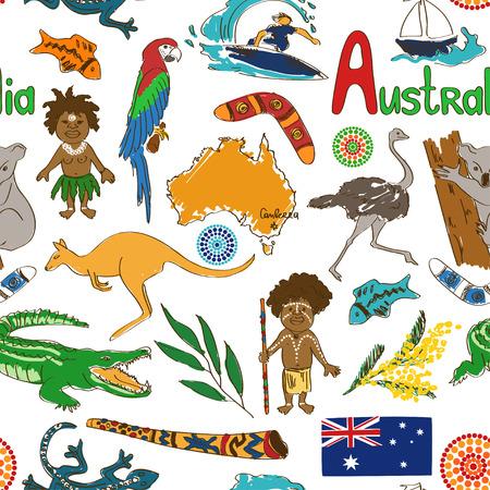 Fun colorful sketch Australia seamless pattern Vector