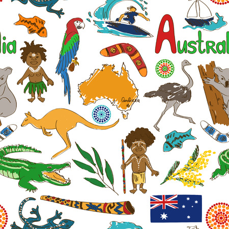 Fun colorful sketch Australia seamless pattern Vector