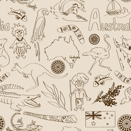 Fun sketch Australia seamless pattern Vector