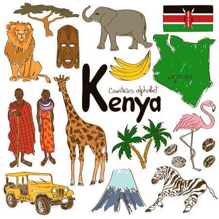 kenya: Fun colorful sketch collection of Kenya icons, countries alphabet