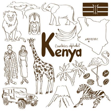 giraffe: Fun sketch collection of Kenya icons, countries alphabet