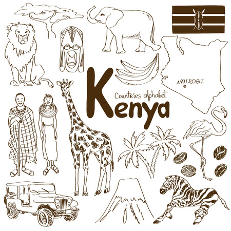 Fun sketch collection of Kenya icons, countries alphabet