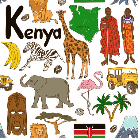 Fun colorful sketch Kenya seamless pattern Illustration
