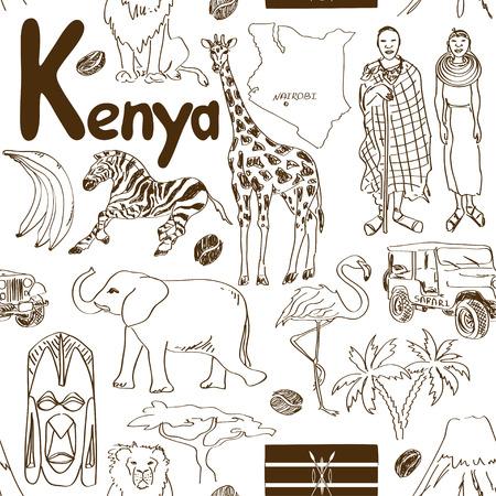 Fun sketch Kenya seamless pattern
