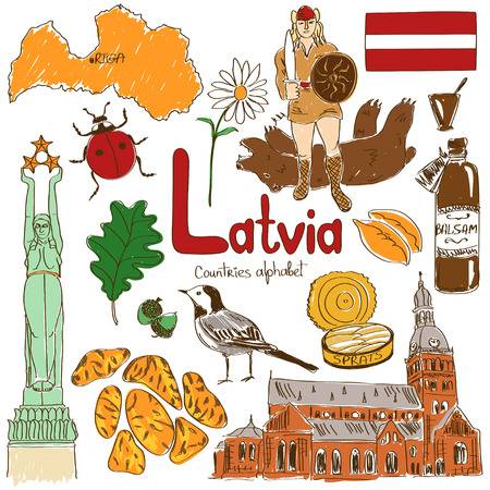 dom: Fun colorful sketch collection of Latvia icons, countries alphabet
