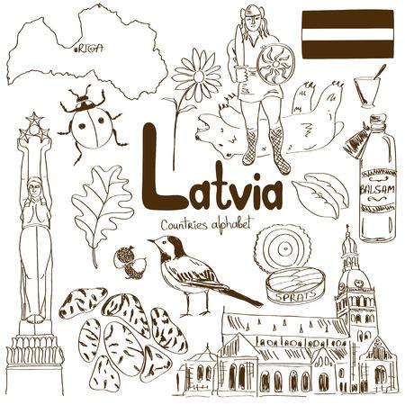 Divertida colección boceto de Letonia iconos, los países alfabeto Foto de archivo - 30016643