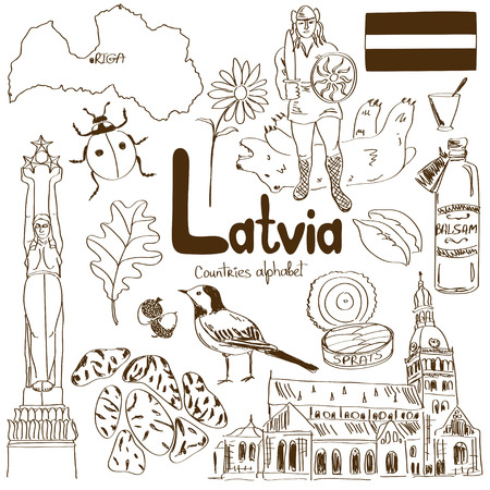 Fun sketch collection of Latvia icons, countries alphabet Иллюстрация