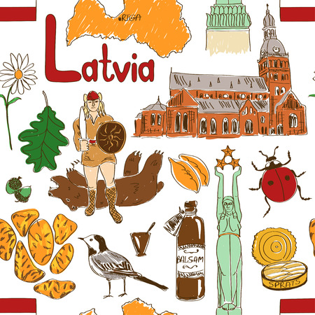 balsam: Fun colorful sketch Latvia seamless pattern