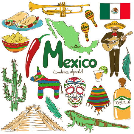 Fun colorful sketch collection of Mexico icons, countries alphabet Vector