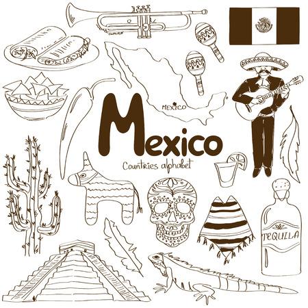 Divertida colección boceto de iconos de México, los países alfabeto Foto de archivo - 30016343