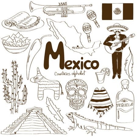 Fun sketch collection of Mexico icons, countries alphabet