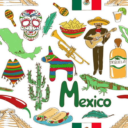 Fun colorful sketch Mexico seamless pattern Vector