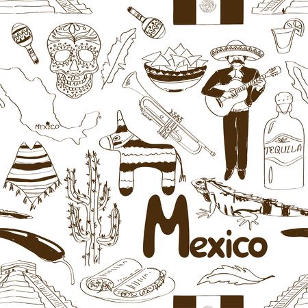 Fun sketch Mexico seamless pattern Vector