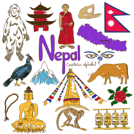 Fun colorful sketch collection of Nepal icons, countries alphabet