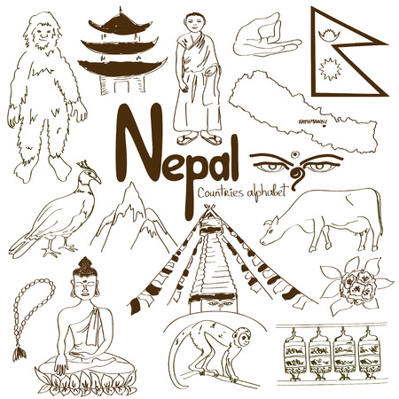 Fun colorful sketch collection of Nepal icons, countries alphabet Vector