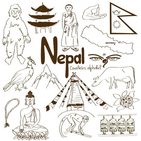 Verzameling van de pret de kleurrijke schets van de pictogrammen van Nepal, het alfabet van landen