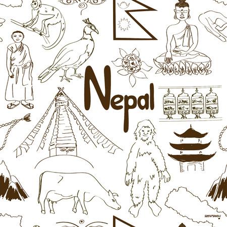 Fun sketch Nepal seamless pattern