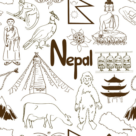 Fun sketch Nepal seamless pattern Illustration