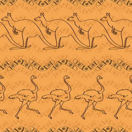 australian ethnicity: Ethnic Australian seamless pattern with kangaroo, ostrich and boomerang