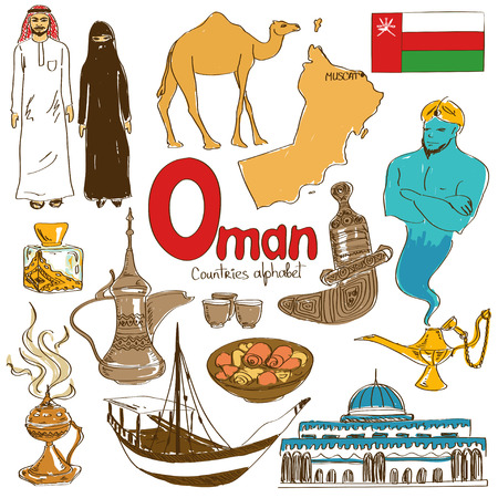 Fun colorful sketch collection of Oman icons, countries alphabet