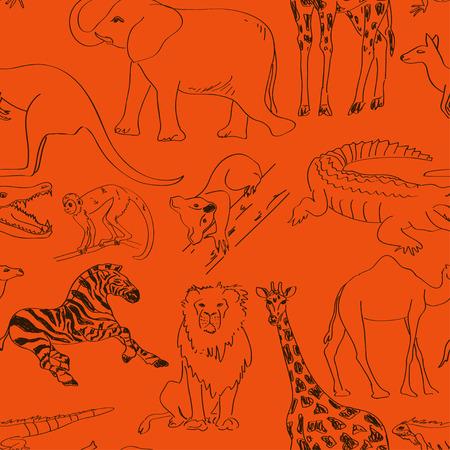 australian animal: Diversi�n sin fisuras patr�n esbozo de animales australianos y africanos